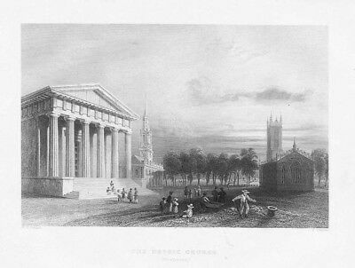 Gothic Church, New Haven, Connecticut - Antique Print 1840 by Bartlett