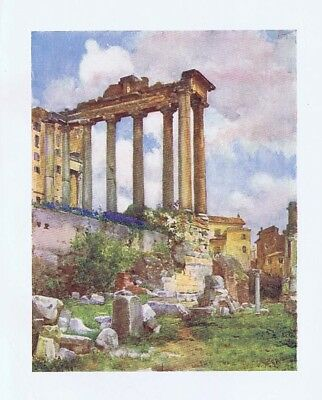 ROME Temple of Saturn from the Basilica Julia in the Forum - Antique Print 1905