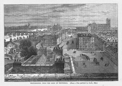 LONDON Westminster from the Roof of Whitehall - Antique Print 1892