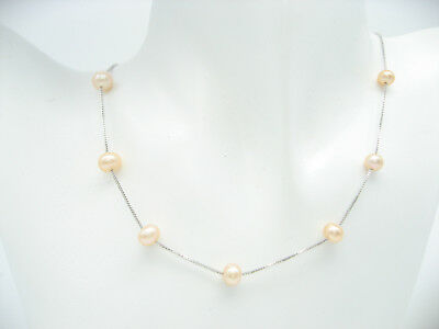 """17"""" 45cm 925 Sterling Silver Round Pink Cultured Freshwater Pearl Chain Necklace"""