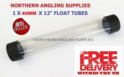 NAS  40MM Clear Plastic Float Tubes Length 12 inch (30cm) with Black End Caps
