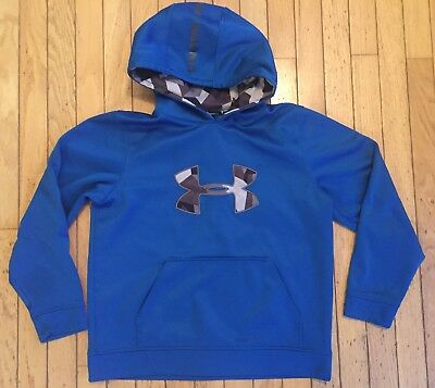 Boys Under Armour Hoodie Sweatshirt Size Youth Large Blue grey camo Excellent