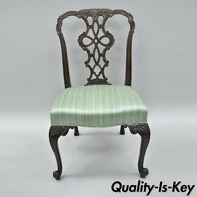 Antique Solid Mahogany Georgian Style Dining Side Chair Carved Ribbon Back B