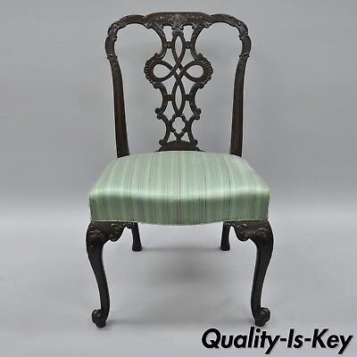 Antique Solid Mahogany Georgian Style Dining Side Chair Carved Ribbon Back C