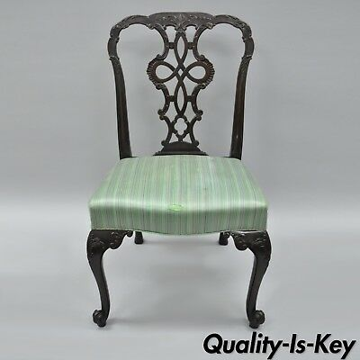 Antique Solid Mahogany Georgian Style Dining Side Chair Carved Ribbon Back A