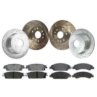 Front+Rear Drilled Slotted Brake Rotor Ceramic Pad Chevy GMC w/Lifetime Warranty