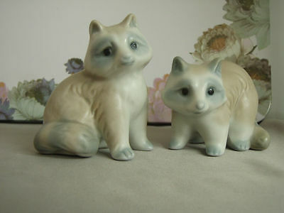 Vintage Soft pastel painted pair of porcelain raccoons, made in Japan, mint cond