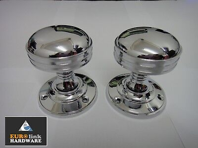 Eurolink Ascot Mortice Round Rose Knobs - Polished Chrome - New