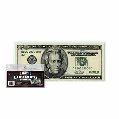 100 US Currency Paper Money Bill Protector Sleeves for Regular Bills by BCW