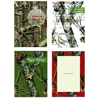 Pack of 12 Mossy Oak Camo Boxed Holiday Greeting Cards - 3 Each of Four Designs