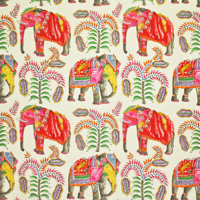 Clarence House Whimsical Elephants & Palm Trees Fabric 10 Yards Cream Persimmons