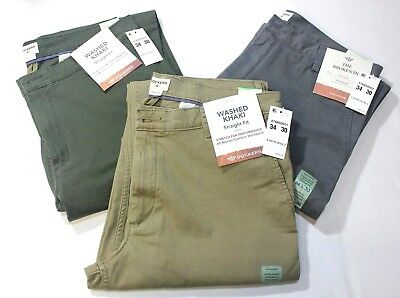 Men Dockers Washed Khaki Straight Fit Stretch 98% Cotton ( Beige - Olive - Gray)