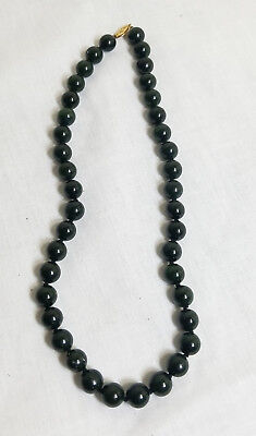 Antique Chinese Carved Nephrite Spinach Dark Green Jade Necklace 14kt Gold