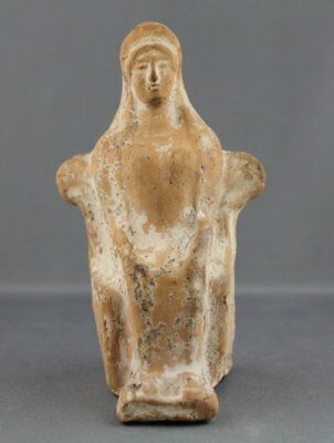 Ancient Greek Terracotta Statuette of a Seated Woman - Athenian Attic Pottery