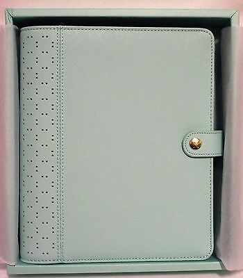New! Kikki K Mint Blue A5 Large Perforated Leather Day Planner Organizer 6 Ring