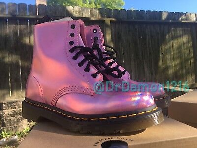 a10c6964a19d NIB Dr. Martens Women s ICED METALLIC 1460 PASCAL RS Mallow Pink Ankle Boot