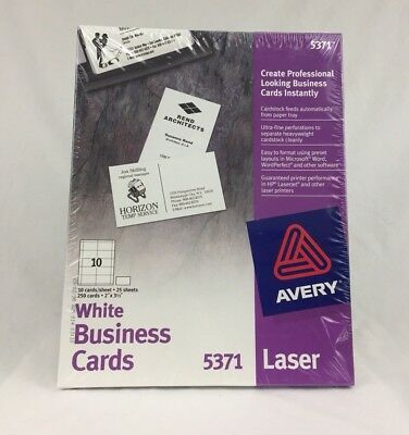 Avery 5371 business cards laser business cards 2 x 3 12 white avery 5371 perforated white laser business cards 250 count new colourmoves