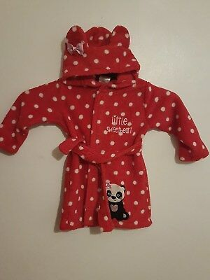 Girls Toddlers Baby Red & White Hooded Panda Dressing Gown Age 12-18 Months