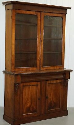 Stunning Victorian Solid Mahogany Bookcase Bureau Cabinet With Original Glass