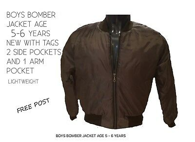 Boys Bomber Jacket Age 5 - 6 Years New With Tags 30 Inch Chest Size