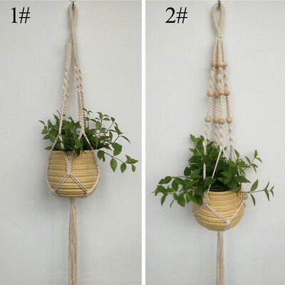 Braided Holder Basket Natural Lifting Plant Rope Hanging Macrame Hanger Outdoor