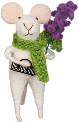 Miniature Felt Mouse with Sign be-You-tiful Purple Flower Primitives by Kathy