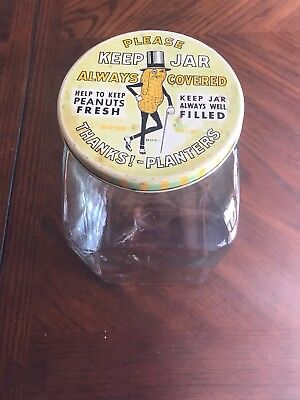 Vintage 1940 Leap Year Planters Peanuts Glass Jar And Lid