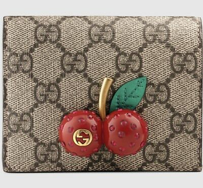 Gucci Gg Supreme Card Case With Cherries 1000 Authentic