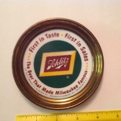 "Schlitz Beer 4 1/2"" Porcelain And Brass Advertising Coaster. Rare"