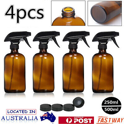 4 x 500ML/250ML Amber Glass Spray Bottles Trigger Sprayer Aromatherapy Dispenser