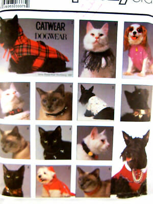 Simplicity 8416 Dog & Catwear Pet Collars & Clothing UNCUT FF All sizes
