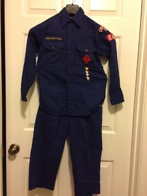 "Vintage official Cub Scout blue uniform/gold trim- neck size 12  pants-26"" long"