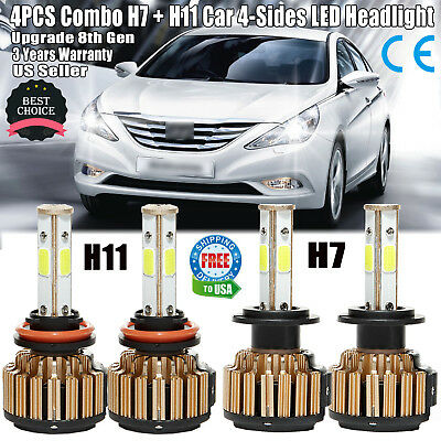 Car H7+H11 LED 96000LM Headlight Kit Bulbs Hi Low Beam 6000K for Hyundai Sonata
