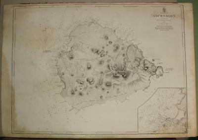 Ascension Island 1845 Hydrographic Office Unusual Antique Sea Chart