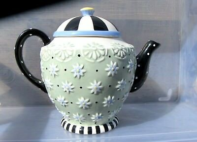 """MARY ENGELBREIT ME Ink 1998 8"""" Ceramic Teapot Flowers olive green & black w/dots"""