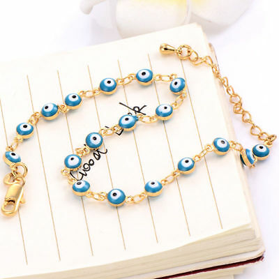 Turkish 14K Yellow Glod Filled Enamel Blue Evil Eye Chain Bracelet Jewelry