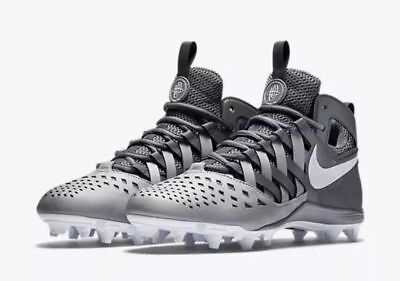 Mens NIKE HUARACHE V 5 LAX Lacrosse Football Cleats  SILVER GRAY WHITE 9.5