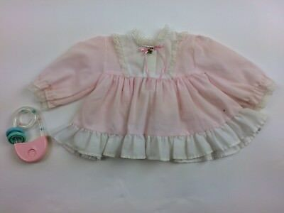 Vintage JCpenney Lace Pink Top Ruffle Open in Back 9mo Tunic Easter 3.7.21