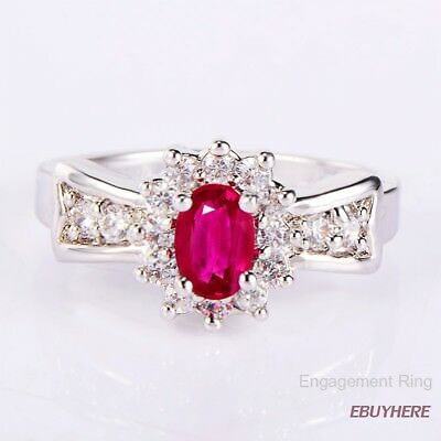 Women's  White Gold Filled Silver Ruby Cubic Zirconia Gemstones Engagement Ring
