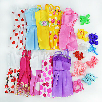 10Pcs*Wedding Gown Dresses+10 Shoes Party Outfit For Barbie Doll Toy Kid Gift UK