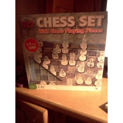 3d Chess Set with Glass Playing Pieces. cardinal. Free Shipping