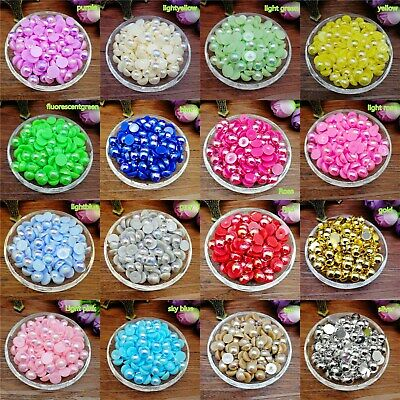 Hot 4/6/8mm Half Round Pearl Bead Flat Back Scrapbook for Craft colors U Pick