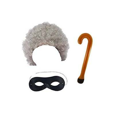 Grey Gangsta Granny Old Woman Wig Mask Gangster Fancy Dress Book Week Costume