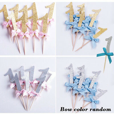 12Pcs First Birthday Glitter Cupcake Toppers Boy Girl Party Favors Decor Supreme