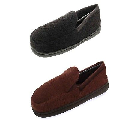 Mens Boys Gents Cord Moccasin Black Brown Lined Slippers Sandal Shoes 7 - 11