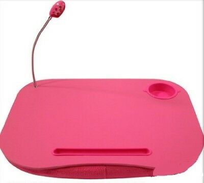(Plain Pink) - Laptop Cushion Portable Reading Lap Top Tray Table With 5 Led