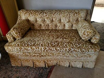 Vintage Loveseat Gold Fabric Spectacular