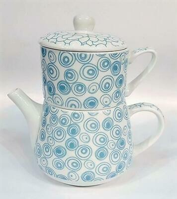 "Tea for une "" Nippon "" porcelaine Cercles / caillou bleu"