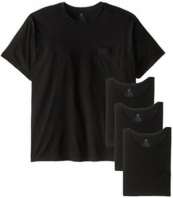 4 Pack Hanes Mens Cotton Big Tall Pocket Crew Tee T Shirt Size 3X Large Black