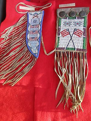 Native American Knife Sheath & Bag, Two  Beaded Leather Indian Items,  Du-00059